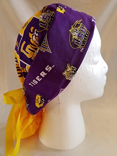 buy popular 275f9 09f5a ... buy high quality handmade womens ponytail scrub hat cap with lsu logo  and school colors.