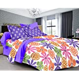 Ahmedabad Cotton Comfort 160 TC Cotton Double Bedsheet with 2 Pillow Covers - Floral, Multicolour