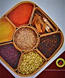 MIR9 MIR Woven Sq Masala Rangoli Box (Dabba) - 7 Sections, 700ml, Assorted Colour (Multicolour).