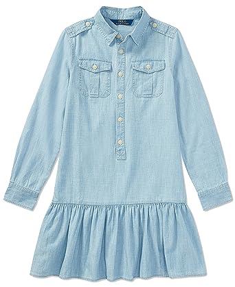 848ed2a6580 RALPH LAUREN Big Girls Chanbray Cotton Shirtdress Cruise Indigo Blue (14)