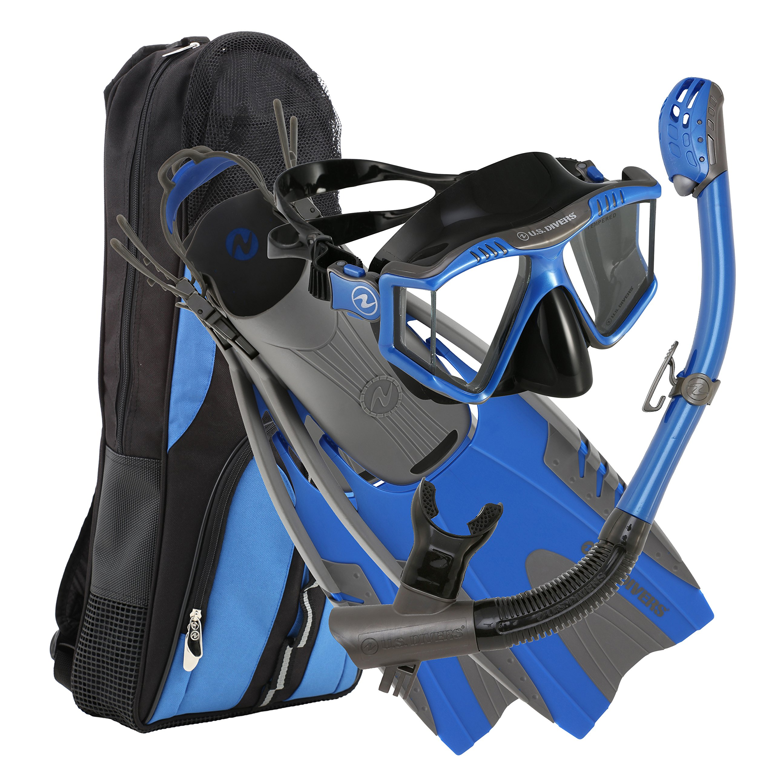 U.S. Divers Lux Mask Fins Snorkel Set Compatible with GoPro, Electric Blue, Large/X-Large by U.S. Divers
