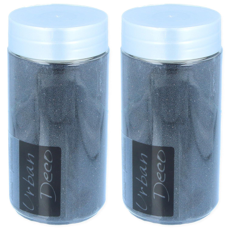 2x Black Decorative Sand Tubes | 370ml White Hinge
