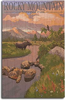 product image for Lantern Press Rocky Mountain National Park, Colorado - Moose and Meadow (10x15 Wood Wall Sign, Wall Decor Ready to Hang)