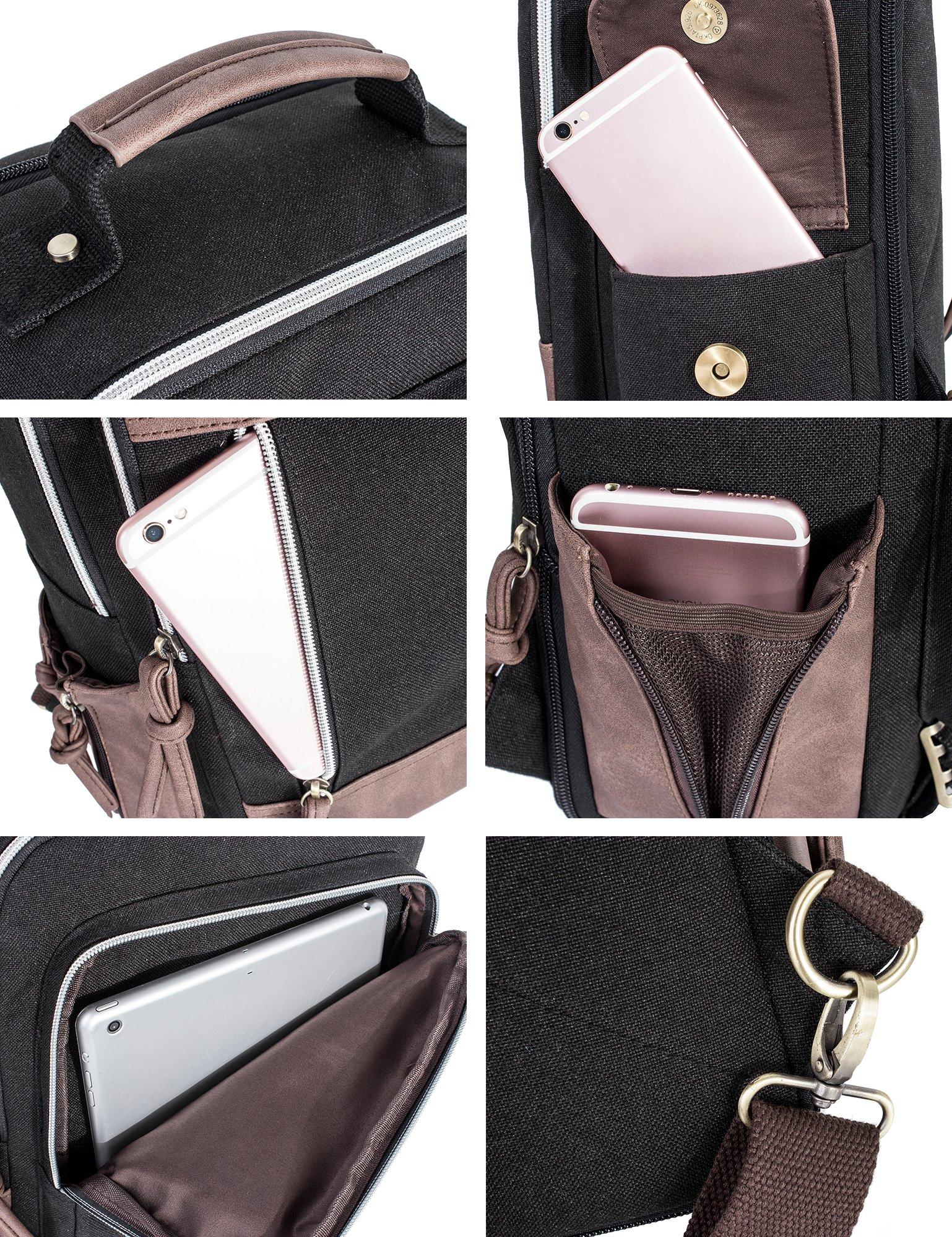Leaper Retro Messenger Bag Outdoor Cross Body Sling Bag Travel Bag Shoulder Backpack (Black3103) by Leaper (Image #7)