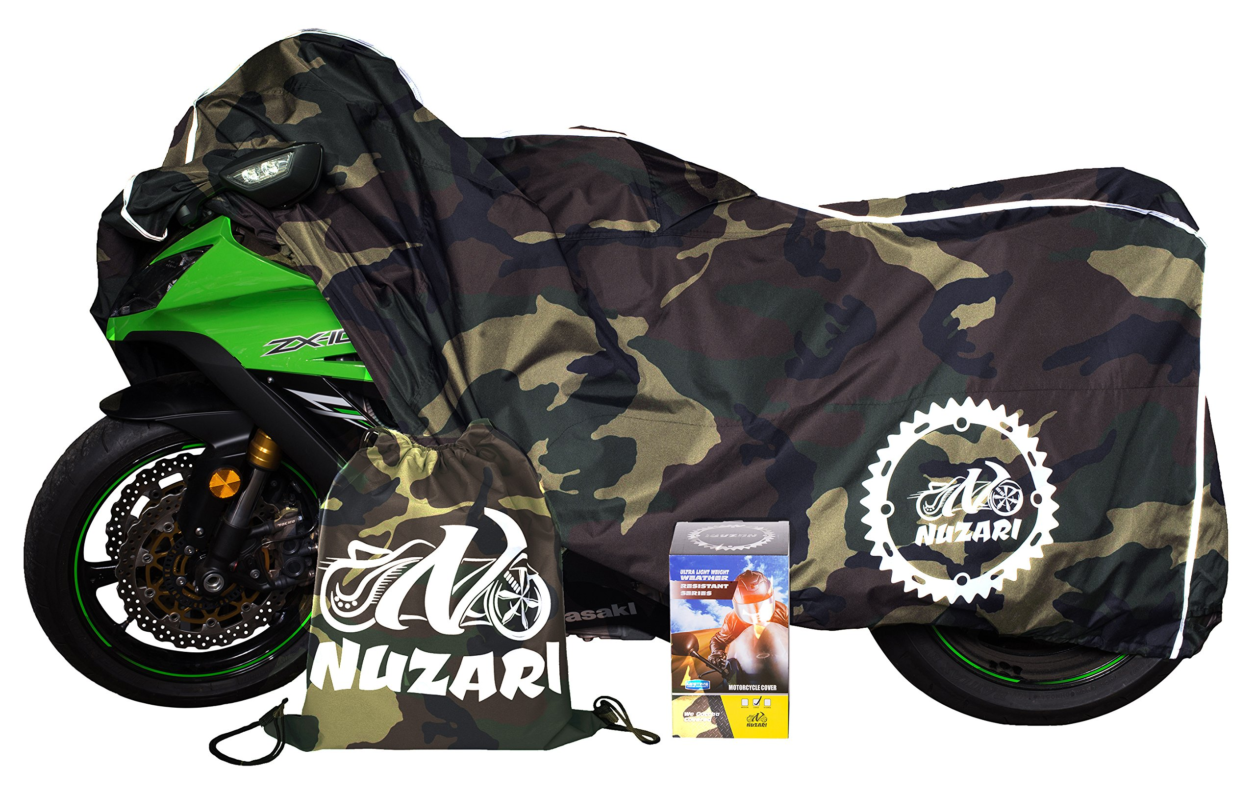 Premium Weather Resistant Covers Waterproof Polyester w/Soft Screen & Heat Resistant Shields.Motorcycle Cover has Lockable fabric, Durable & Long Lasting.Sportbikes & Cruisers (XX-Large, Camouflage) by Nuzari (Image #3)