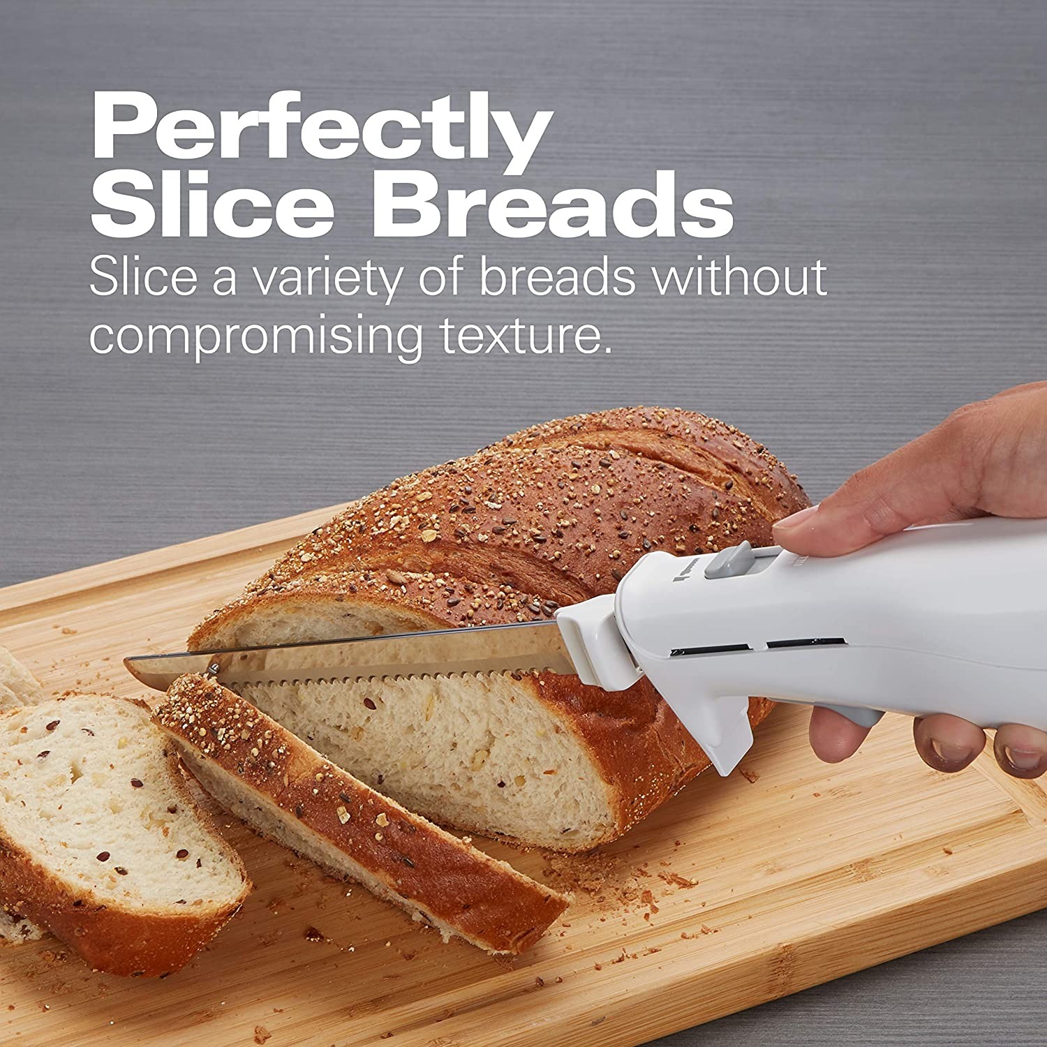 Hamilton Beach Electric Knife for Carving Meats, Poultry, Bread, Crafting Foam & More, Storage Case & Serving Fork Included, White (74250R)