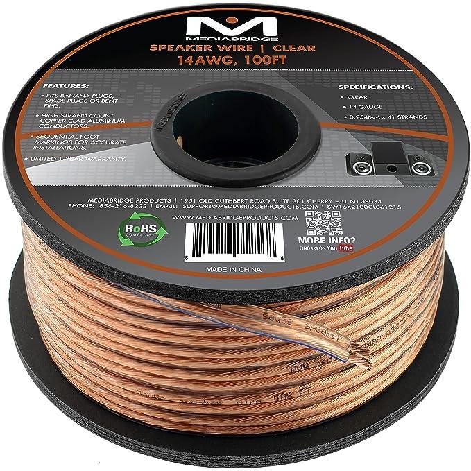Amazon.com: Mediabridge 14AWG 2-Conductor Speaker Wire (100 Feet ...
