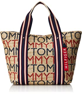 af107c4cd Tommy Hilfiger Camden Printed Logo Straw Large Tote Travel Bag Handbag
