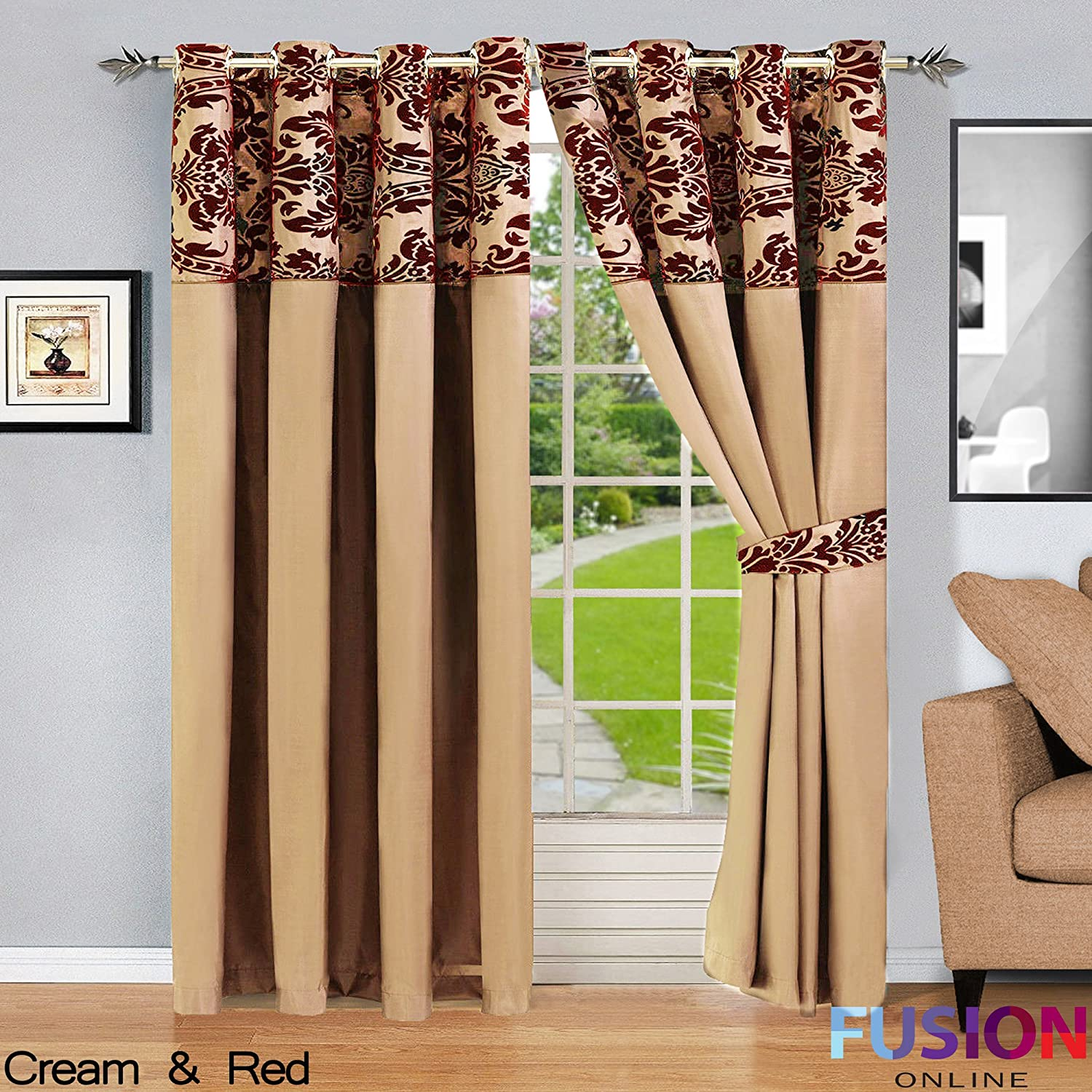 RING TOP FULLY LINED PAIR EYELET READY CURTAINS LUXURY DAMASK CURTAIN RING TOP (66 x 72 (168cm x 183cm), Gold) Fusion Online
