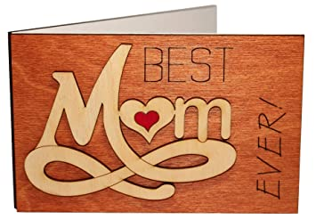 Amazon.com: Hecho a mano Real madera Best Mom Ever Forever ...
