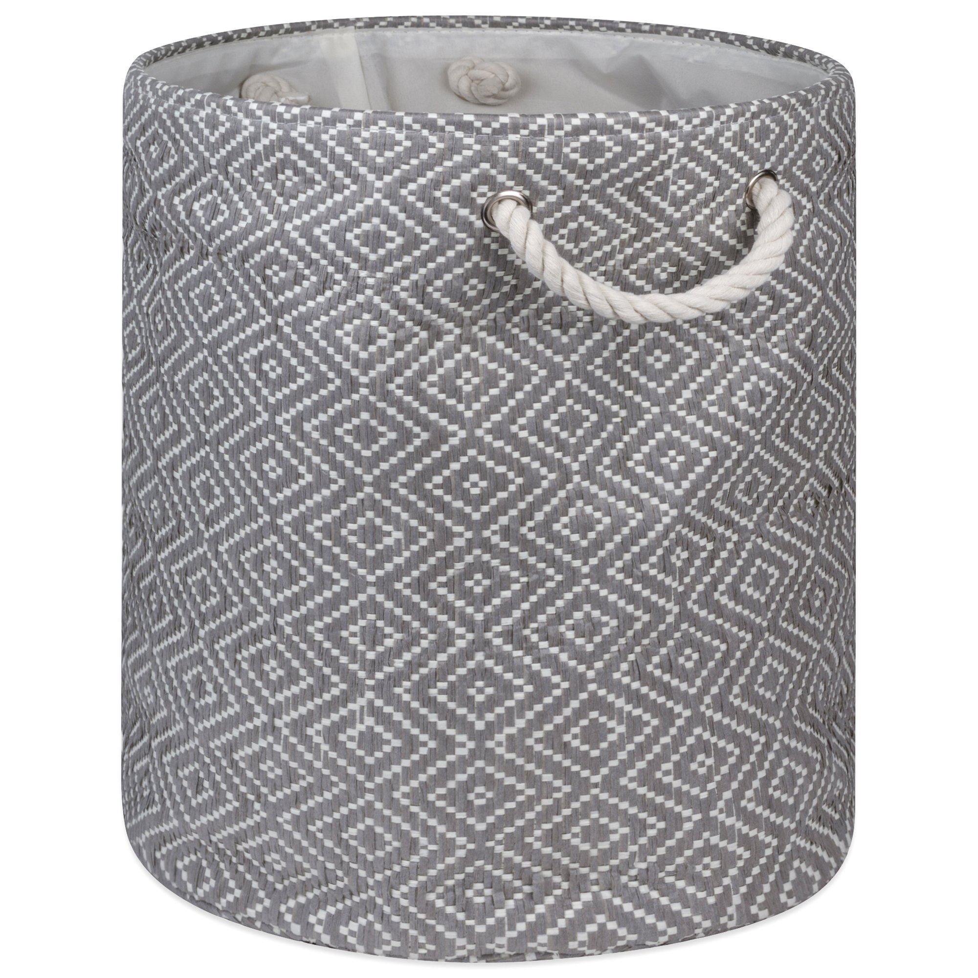 """DII Woven Paper Basket or Bin, Collapsible & Convenient Home Organization Solution for Bedroom, Bathroom, Dorm or Laundry(Medium Round - 14x17""""), Gray & White Diamond Basketweave"""