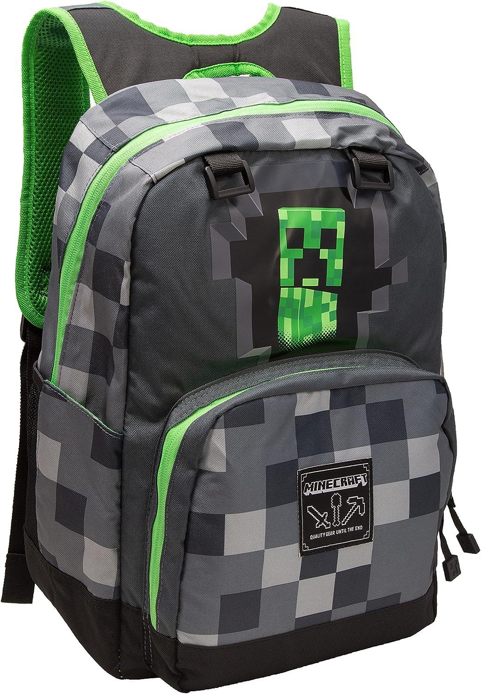 "JINX Minecraft Creepy Creeper Kids School Backpack, Gray, 17"""