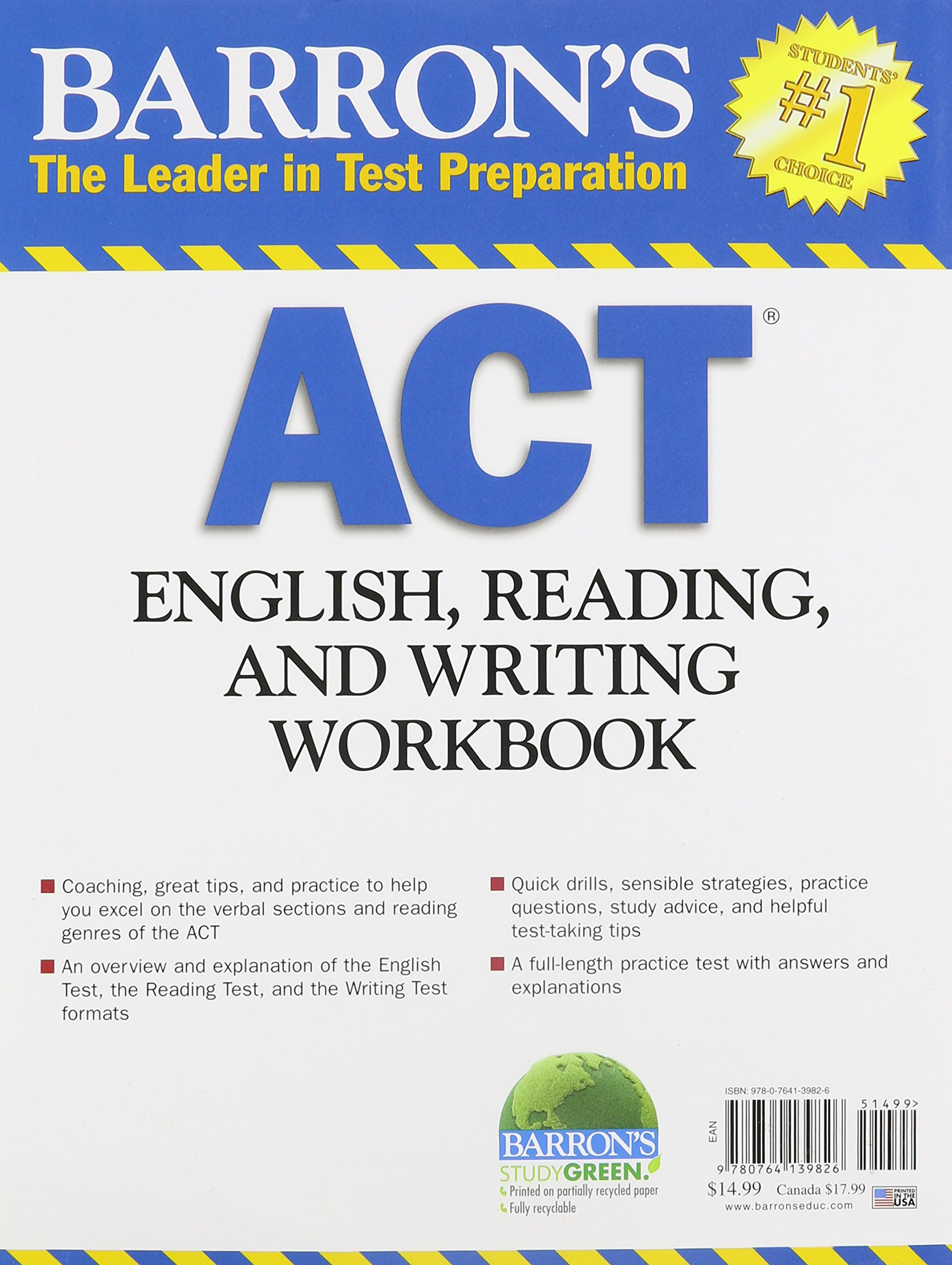 Barrons act english reading and writing workbook linda barrons act english reading and writing workbook linda carnevale ma 9780764139826 amazon books fandeluxe Gallery