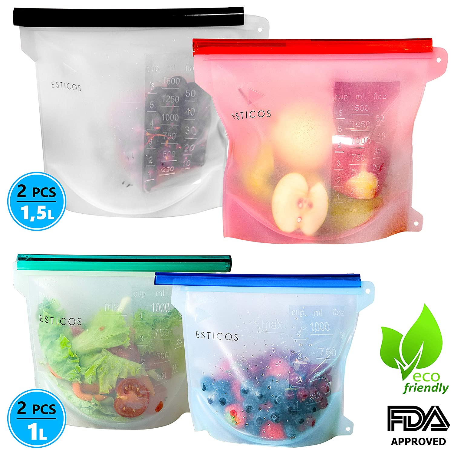 Reusable Silicone Food Storage Bags Set of 4, 50 oz Large (2) & 30 oz small (2), Sandwich Bag container Sous vide for Fruits Vegetables, Microwave Freezer Dishwasher Safe by Esticos