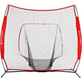 SONGMICS 7' x 7' Baseball Net, Portable Softball Net, with Carry Bag, Ground Stakes, for Hitting and Batting Practice, Red, USBN77RD