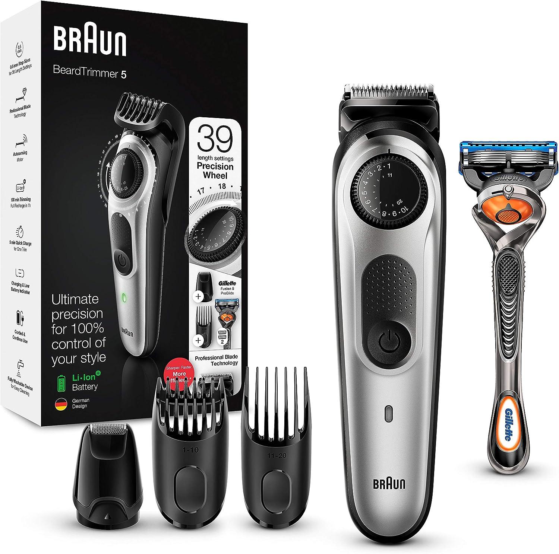 Braun BT5265 - Recortadora de Barba y Máquina Cortar Pelo para Hombre, 39 Ajustes de Longitud, Color Negro/Metal Plateado