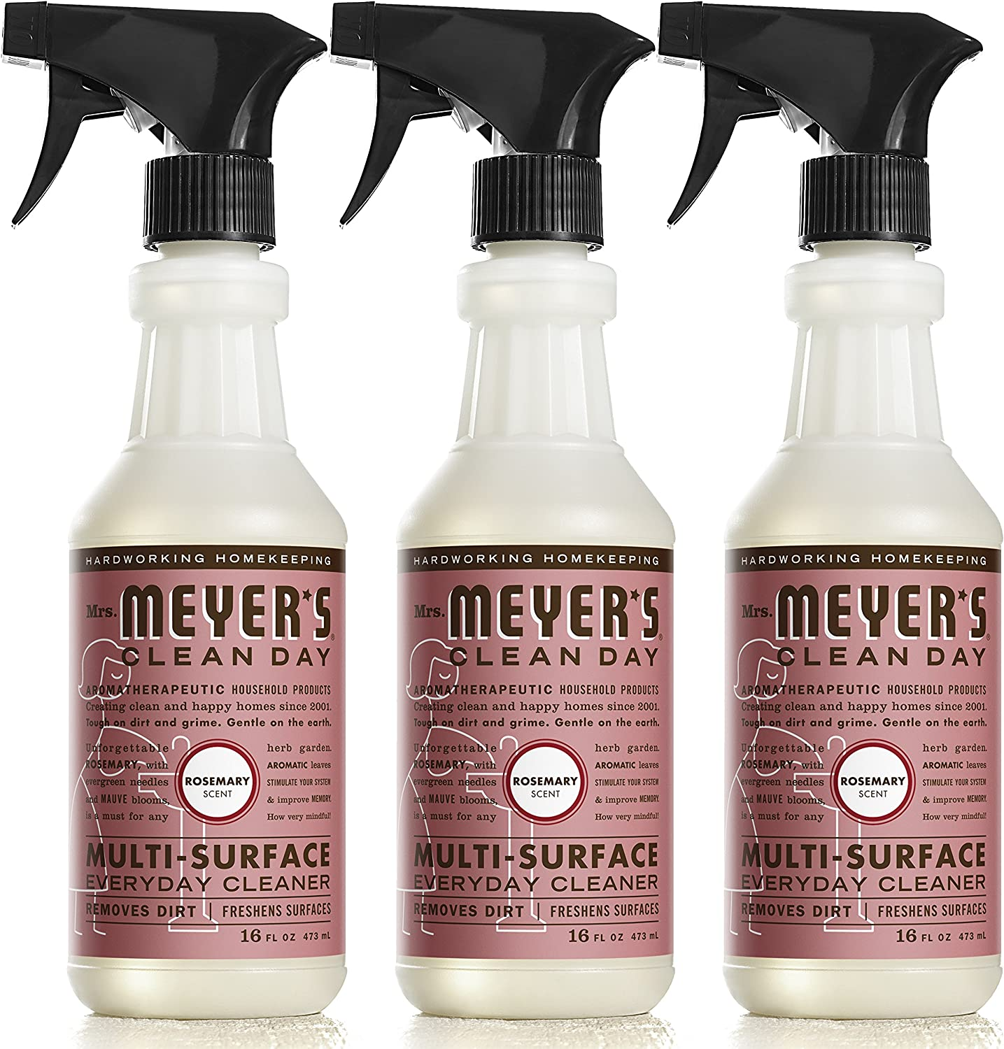 Mrs. Meyer's Clean Day Multi-Surface Cleaner Spray, Everyday Cleaning Solution for Countertops, Floors, Walls and More, Rosemary, 16 fl oz - Pack of 3 Spray Bottles