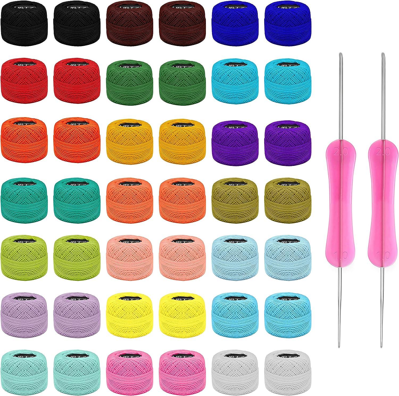 Kurtzy Hilo Crochet Colorido (42 Bolas) – 2 Agujas de Ganchillo (1 mm y 2 mm) Cada Madeja de Hilo de Algodón Pesa 5 g – Total de 1512 m de Hilo de Ganchillo de Colores - Kit Crochet Surtido