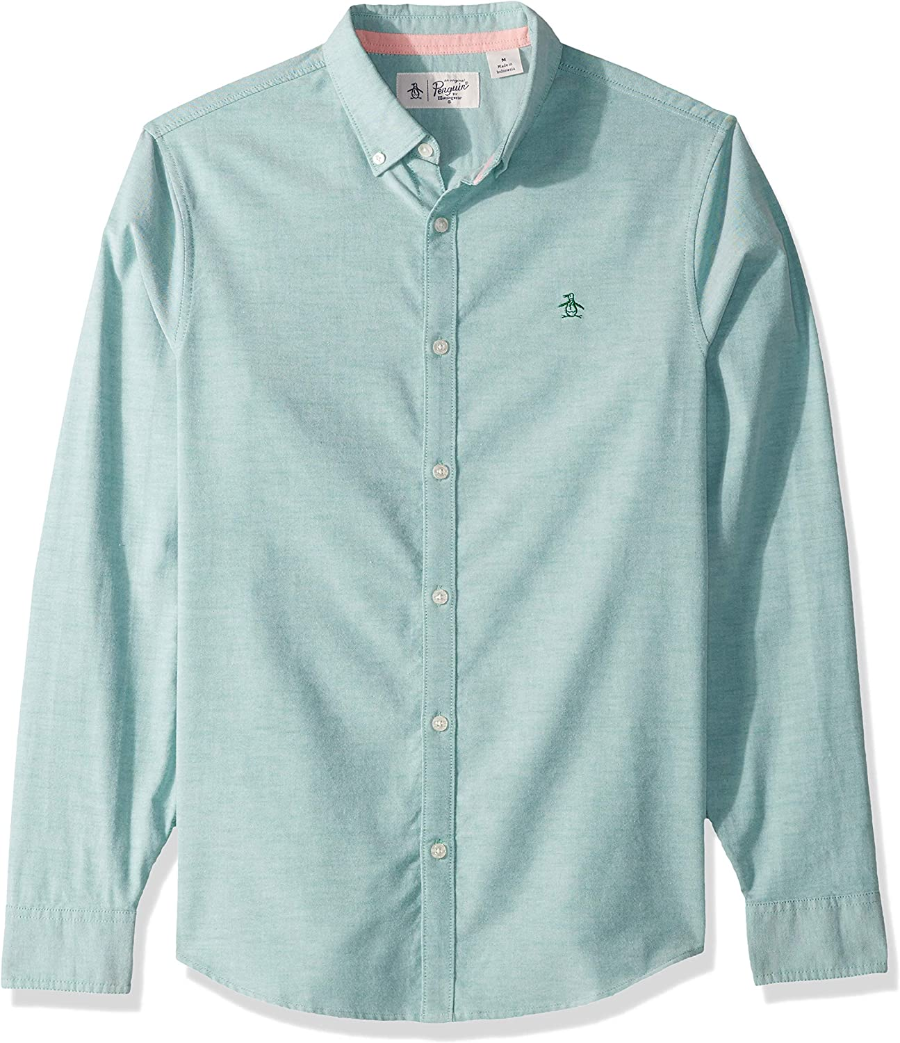 Original Penguin Mens Long Sleeve Core Oxford Button Down Shirt with Stretch