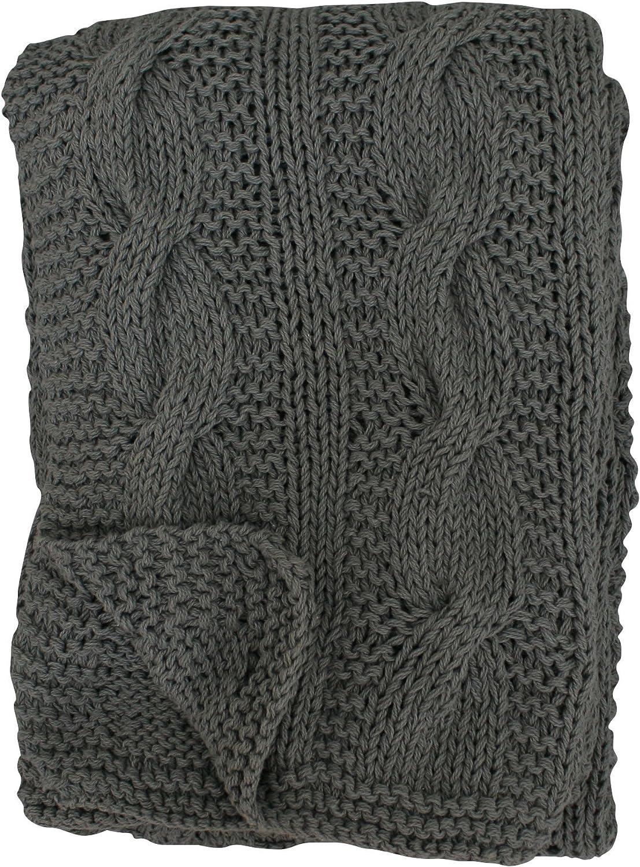 Wolldecke mit Zopfmuster 100/% Baumwolle Farbe schwarz Krasilnikoff Danish Design