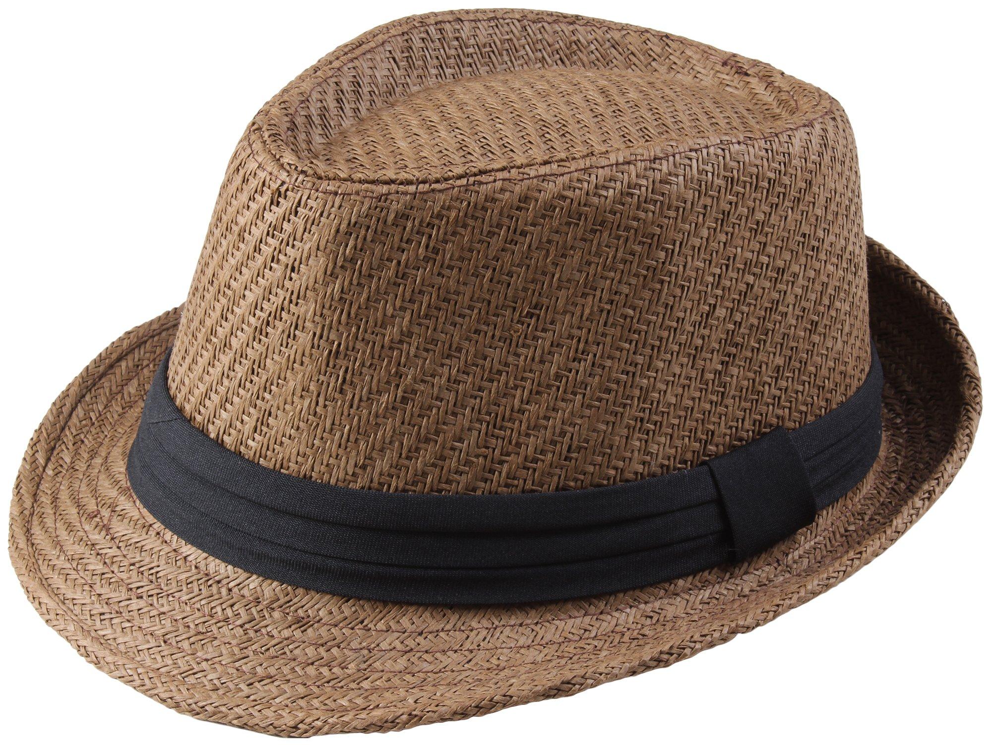 Classic Fedra Unisex Woven Hat Summer w/Stylish Band - B