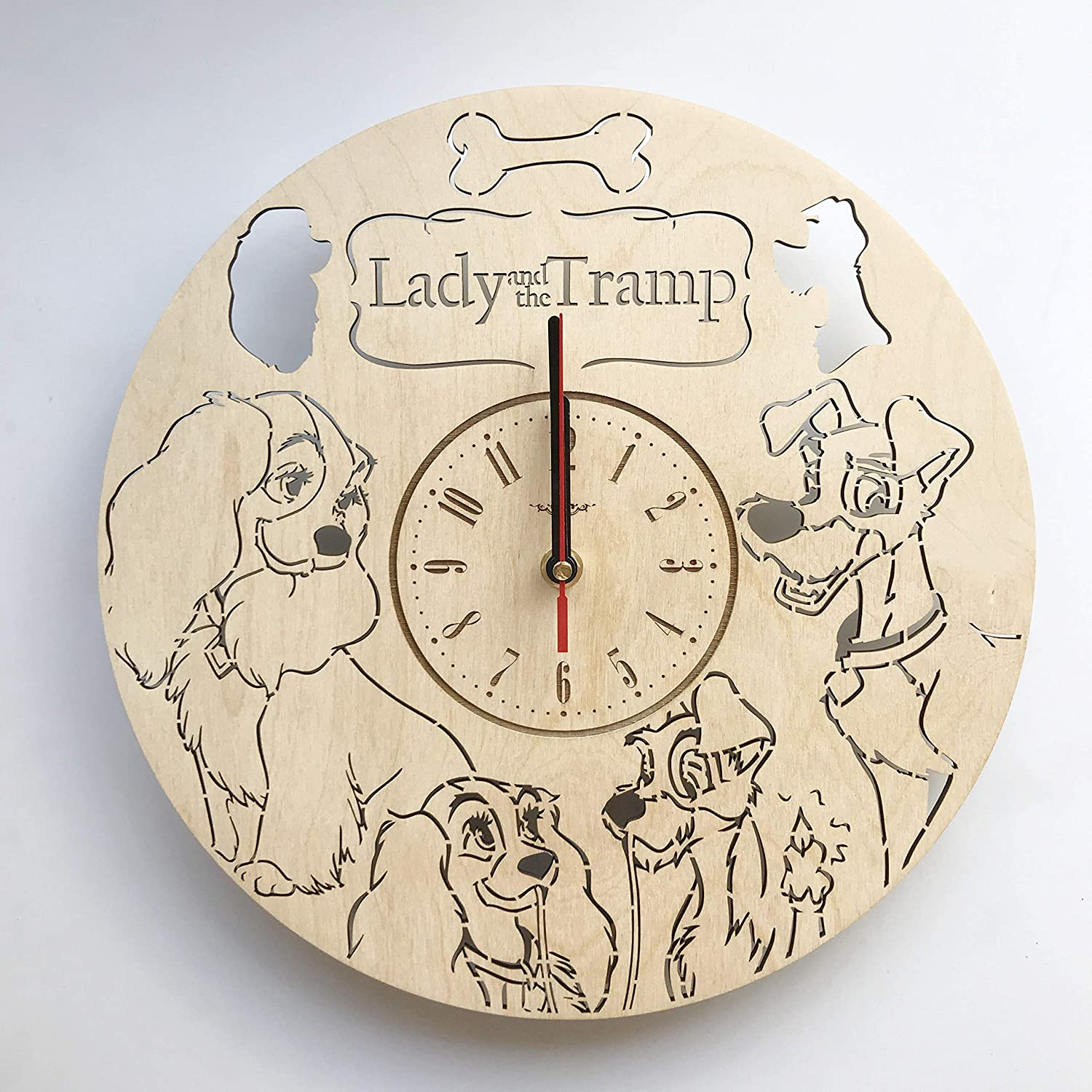 Amazon Lady And The Tramp わんわん物語木製掛け時計ー完璧で美しく