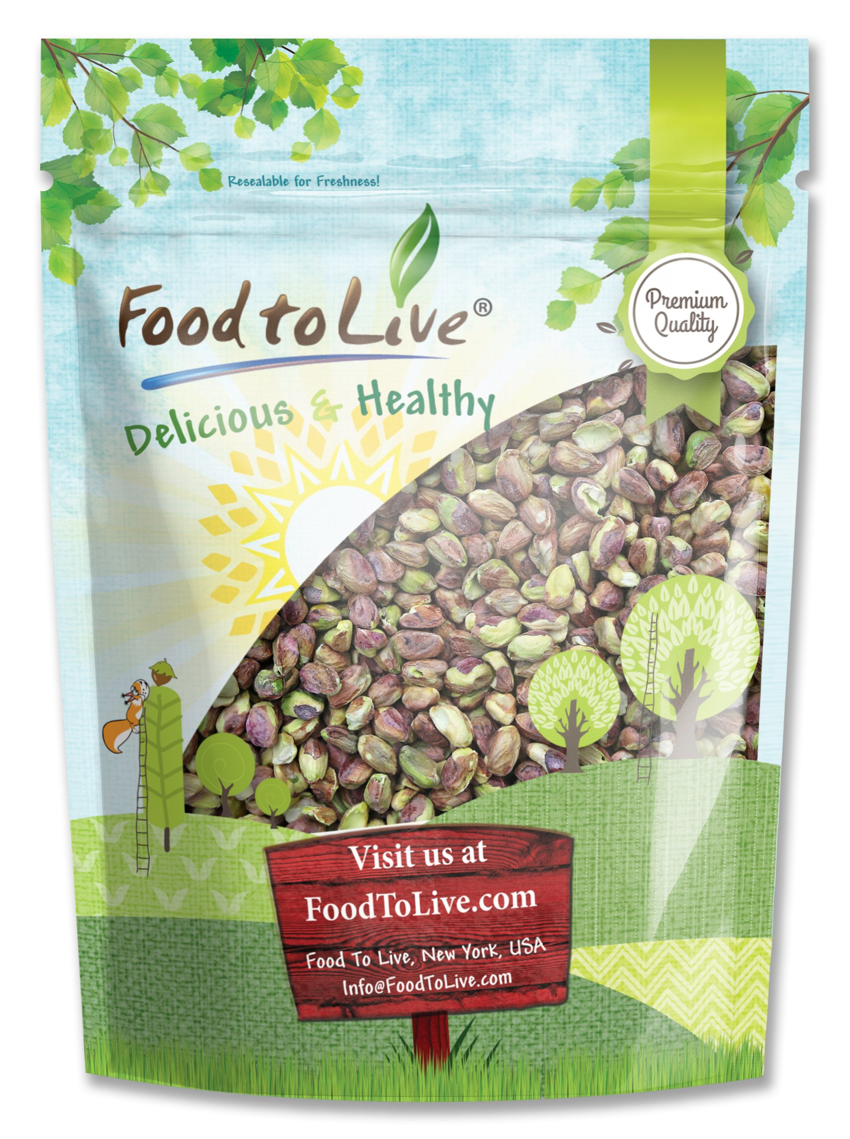 No Shell Pistachios, 3 Pounds - Raw, Unsalted, Kernels, Bulk by Food to Live