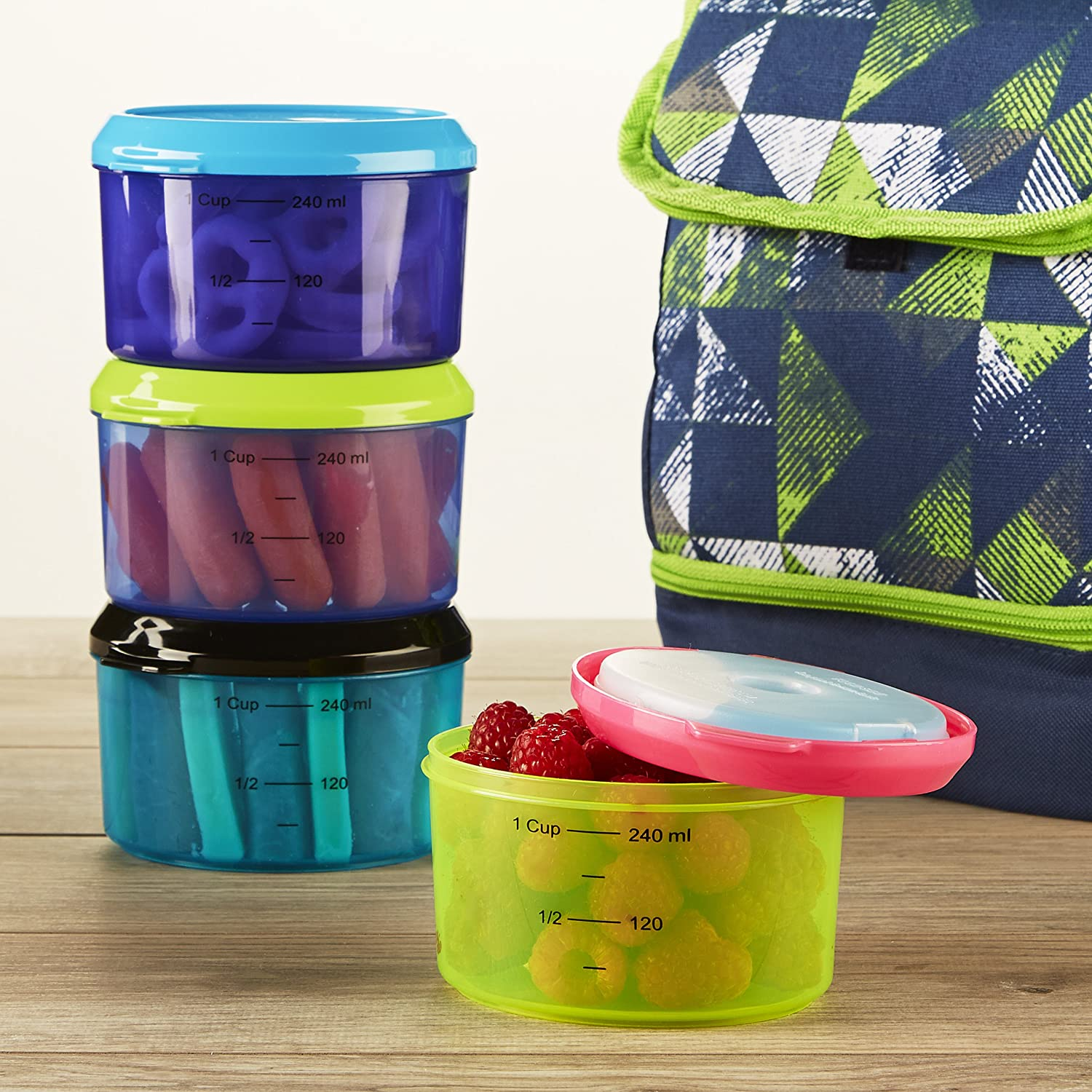 Fit & Fresh Kids' 1-Cup Chilled Containers, Set of 4 Reusable Portion Control Containers with Removable Ice Packs, BPA-Free, Freezer/Microwave/Dishwasher Safe