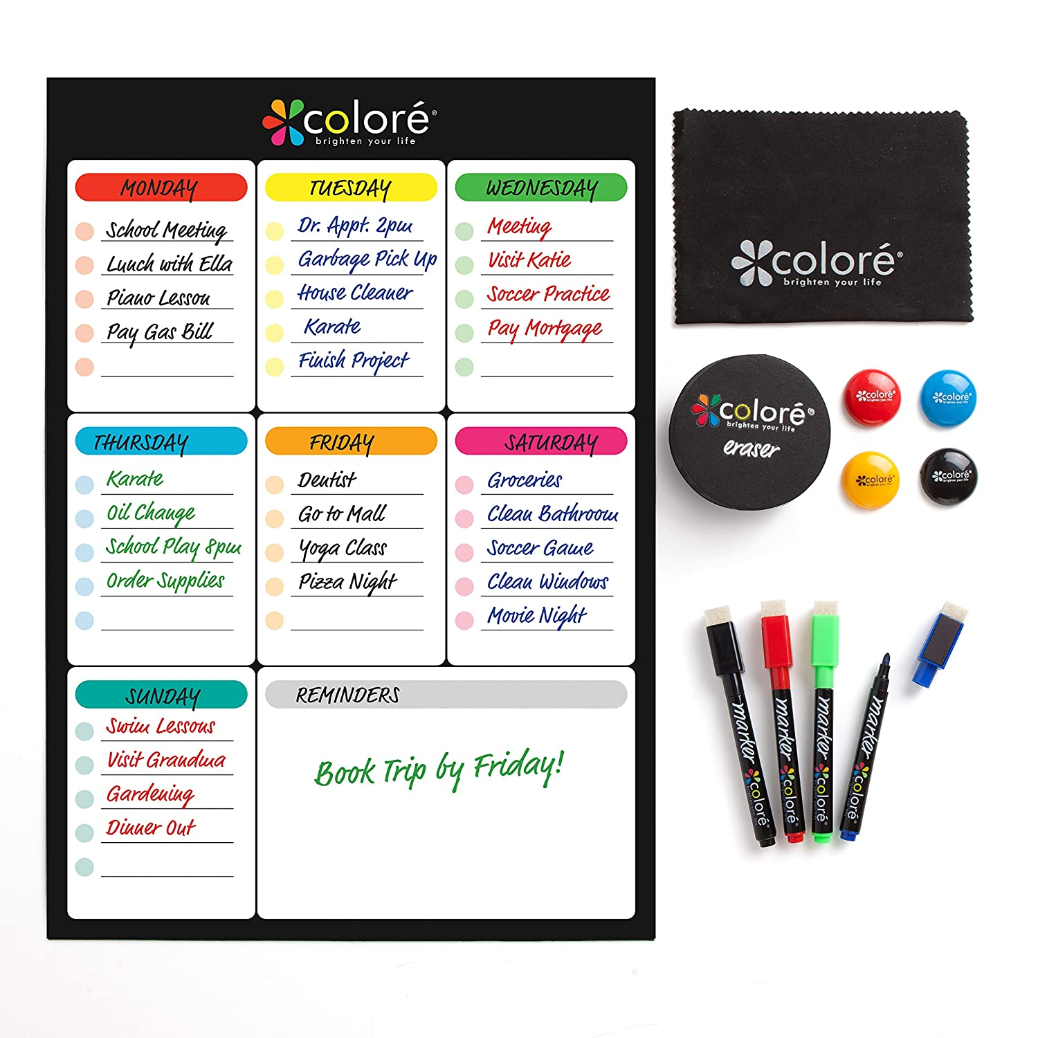 Colore SNOW-WHITE Large Dry Erase Magnetic Whiteboard for Fridge or Calendar - Portable & Stain-Proof White Board