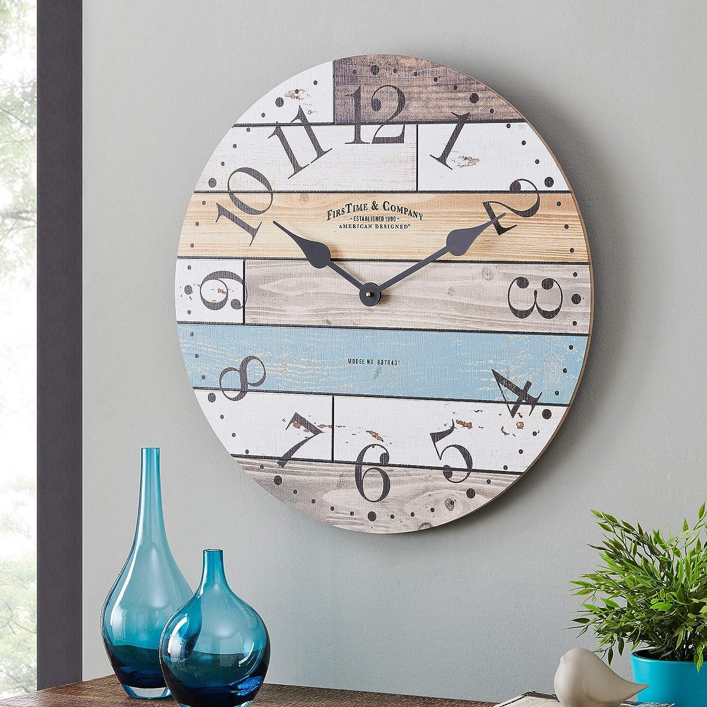 FirsTime & Co. Newton Woodgrain Farmhouse Clock, American Crafted, Multi-Color, 24 x 1.75 x 24 ,