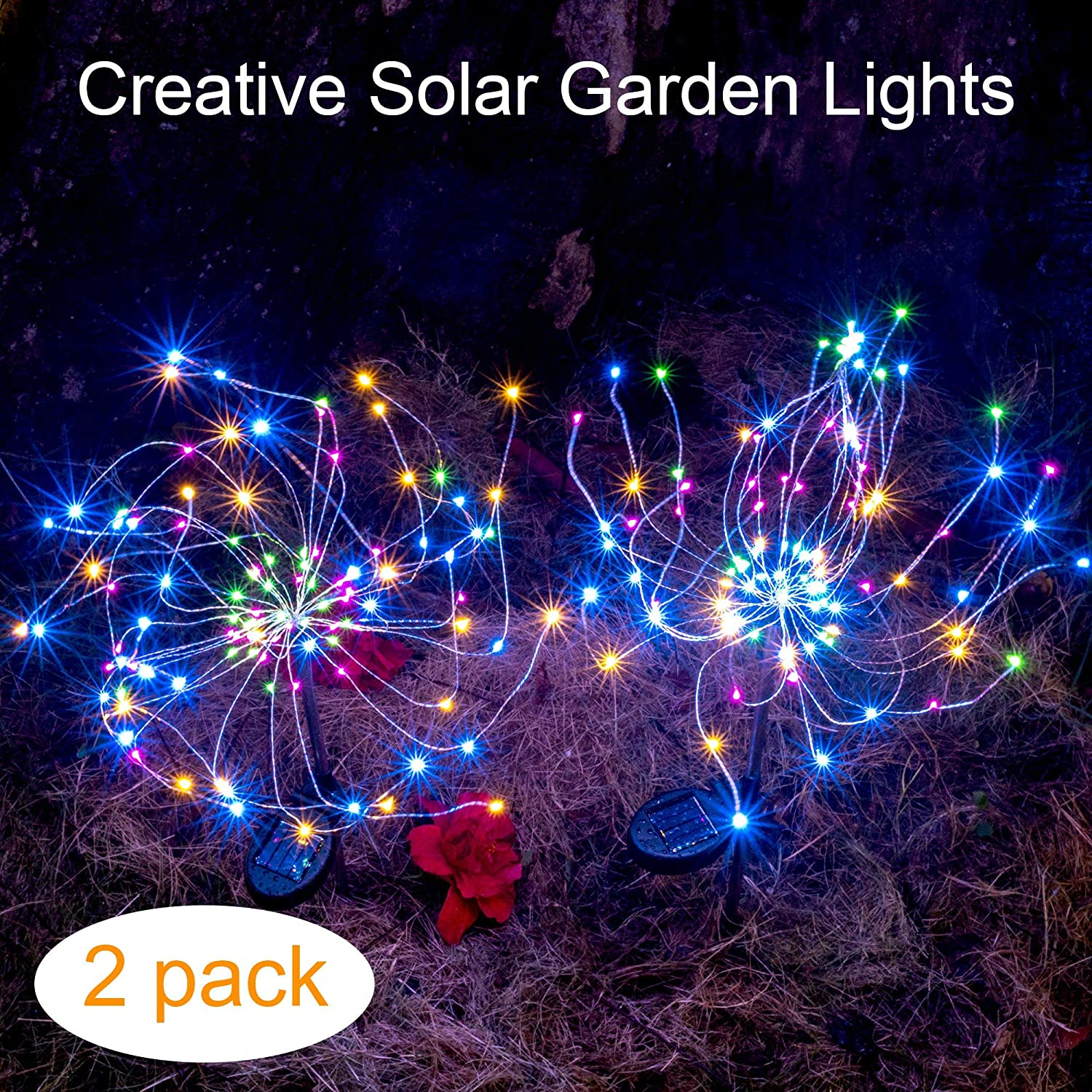 Outdoor Solar Garden Decorative Lights-Mopha Solar 105LED Powered 35Copper Wires String Landscape Light-DIY Flowers Fireworks Trees for Walkway Patio Lawn Backyard, Christmas Party Decor(Multi-Color) Solar-lights