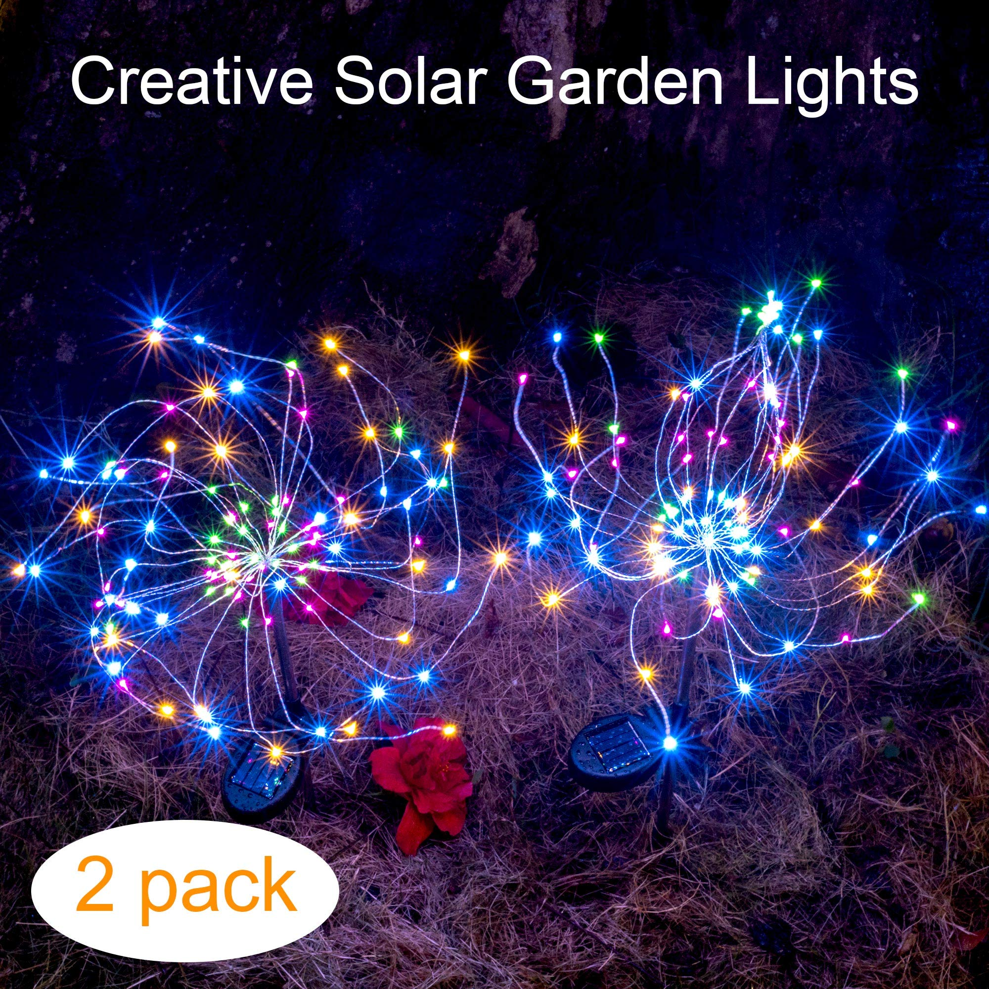 Outdoor Solar Garden Decorative Lights-Mopha Solar 105LED Powered 35Copper Wires String Landscape Light-DIY Flowers Fireworks Trees for Walkway Patio Lawn Backyard,Christmas Party Decor(Multi-Color)
