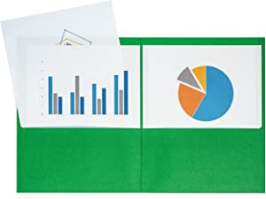 Blue Summit Supplies 25 Two Pocket Folders, Designed for Office and Classroom Use, Green, 25 Pack Colored 2 Pocket Folders