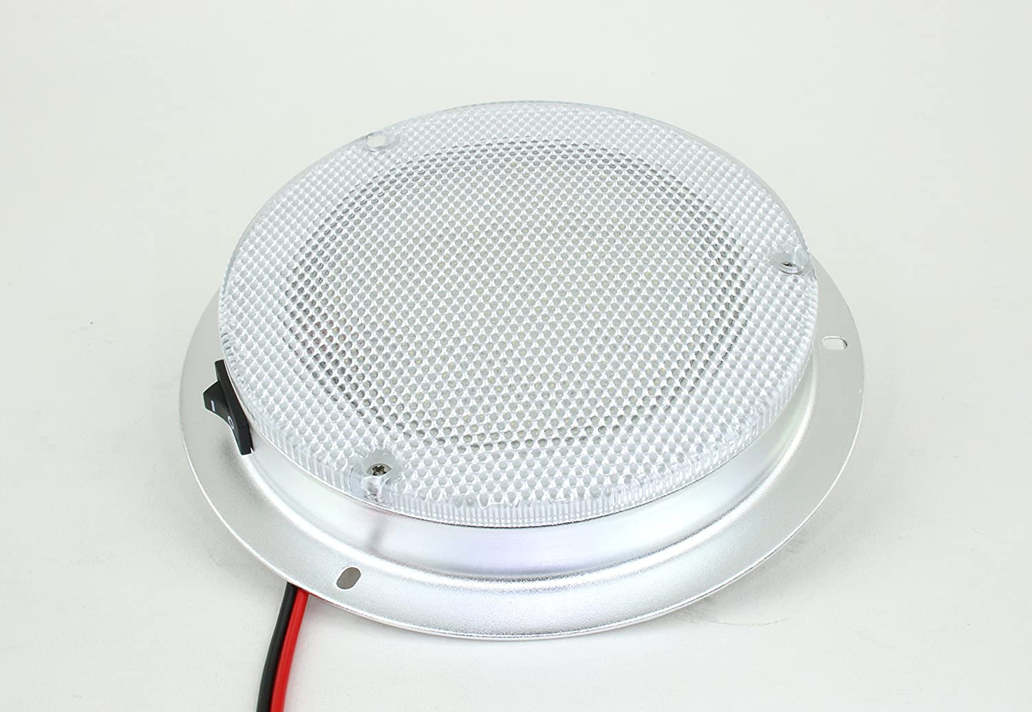 """LED Dome Light - High Power 6"""" LED Downlight - 12VDC - Waterproof - 180 Lumen -Fixed Mount with Rocker Switch- for Home, Auto, Truck, RV, Boat and Aircraft"""