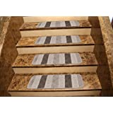"""Ottomanson Softy Striped Design Set of 7 Skid Resistant Rubber Backing Non Slip Carpet (9""""x26"""") Stair Tread Mats 7 Piece Set 9 inch by 26 inch, 9"""" x 26"""", Grey"""