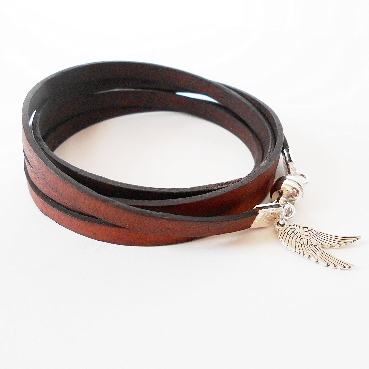 Brown Leather Wrap Bracelet with Angel Wings