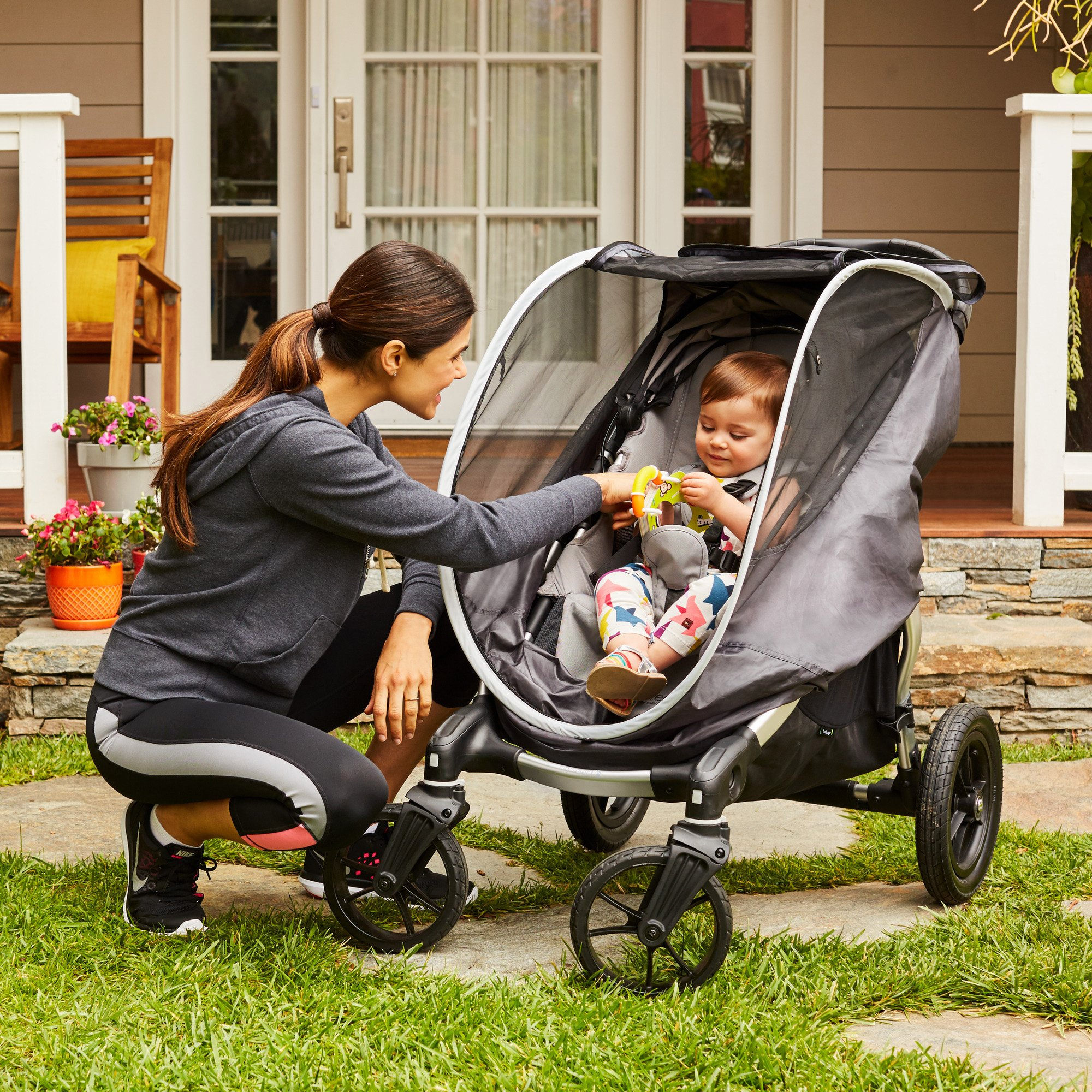 Munchkin Brica Shield Stroller Cover, Helps Block UVA/UVB Rays, Grey by Munchkin (Image #6)