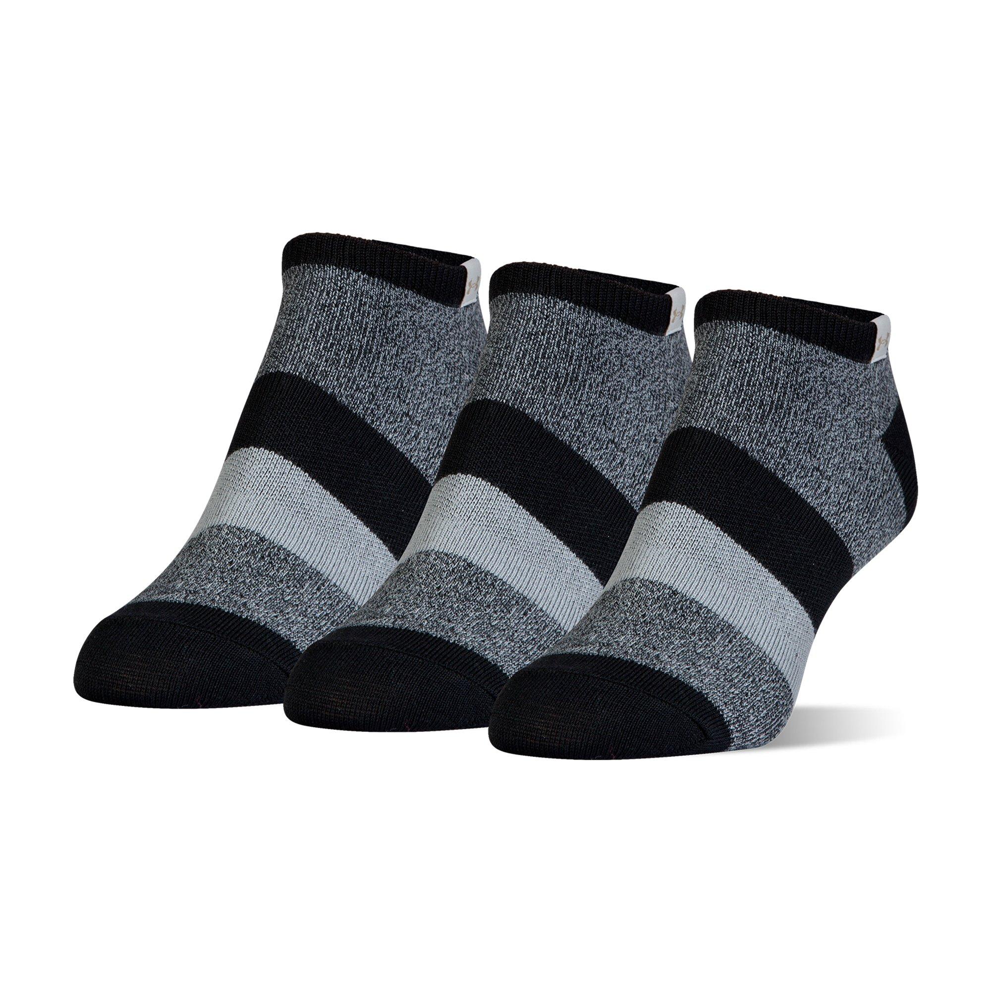 Under Armour Essential Comfort No Show Socks, 3 Pairs, Black Assorted, Medium