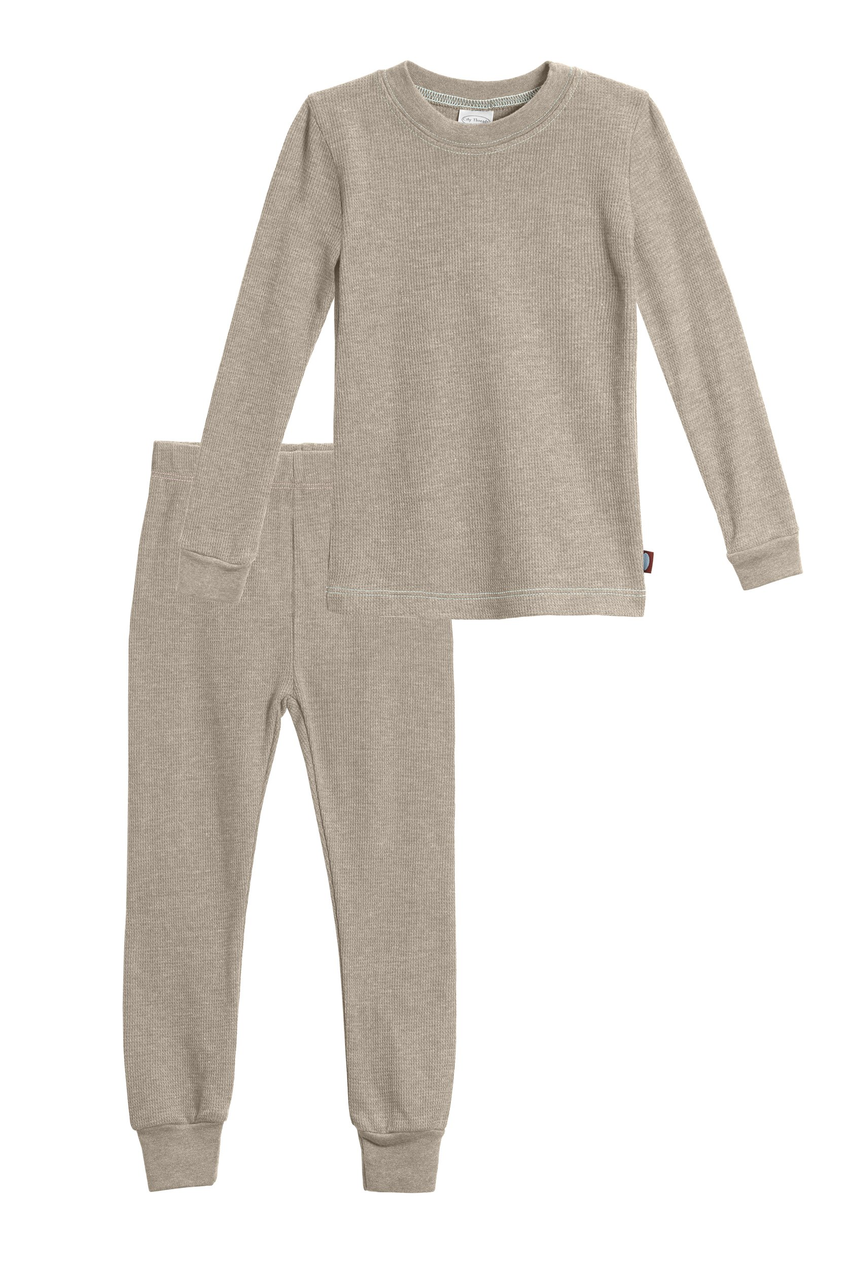 City Threads Big Boys Thermal Underwear Set Perfect For Sensitive Skin SPD Sensory Friendly, Dark Khaki, 8 by City Threads