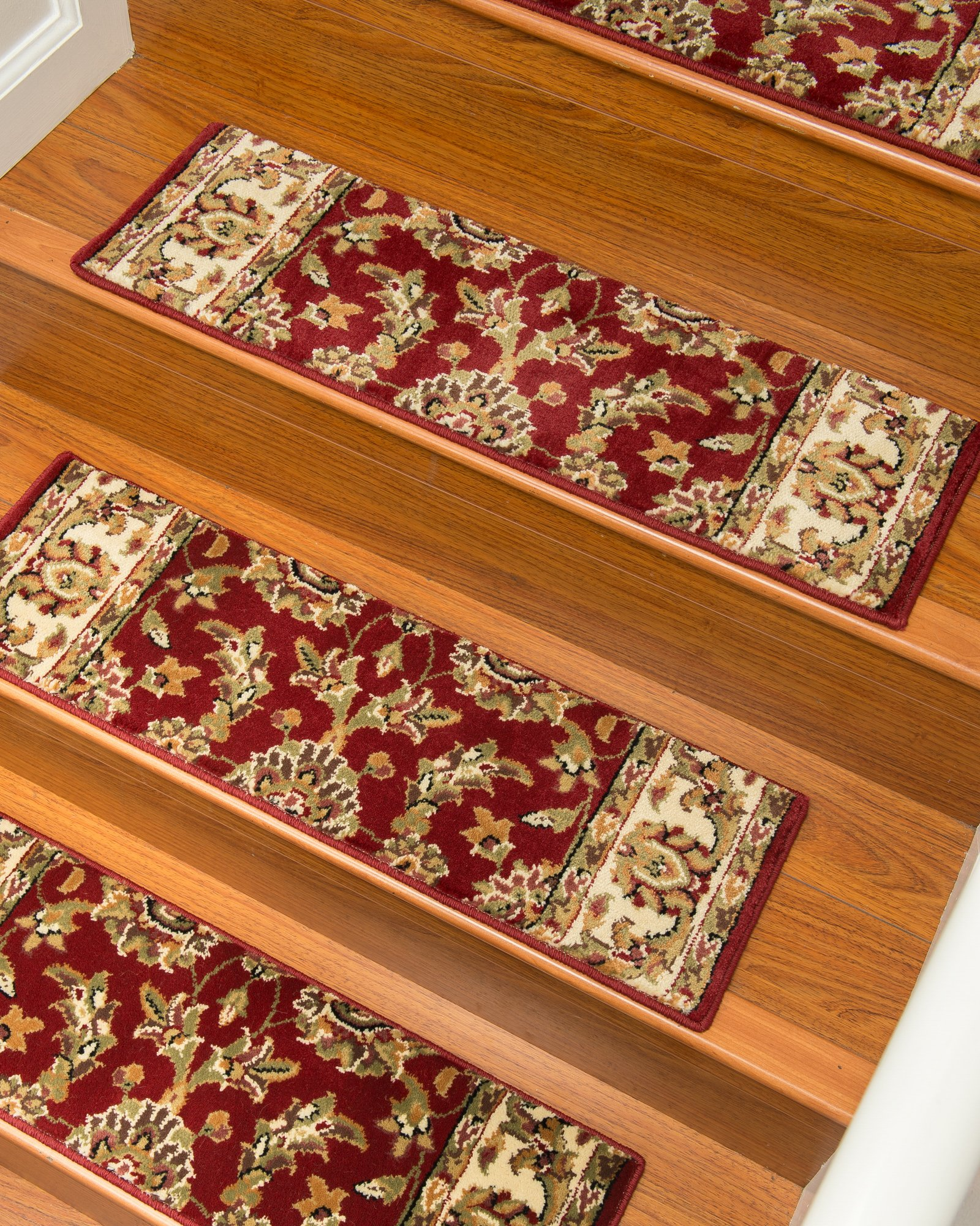 NaturalAreaRugs Sydney Carpet Stair Treads  Rug (Set of 13), 9'' x 29'', Red by NaturalAreaRugs
