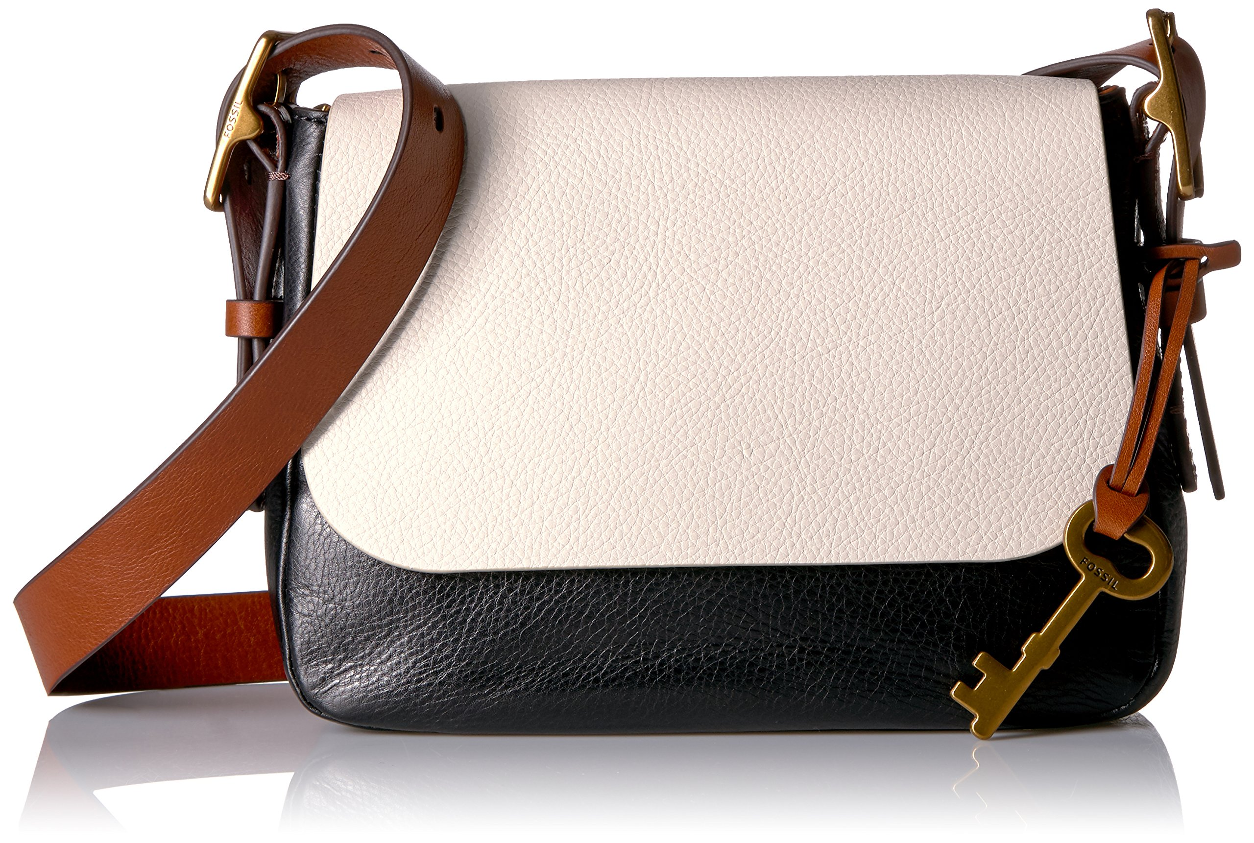 Fossil Harper Small Crossbody, White/Black