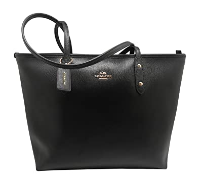 Amazon.com: Coach Black Cross-grain Leather City Zip Top Tote: Shoes