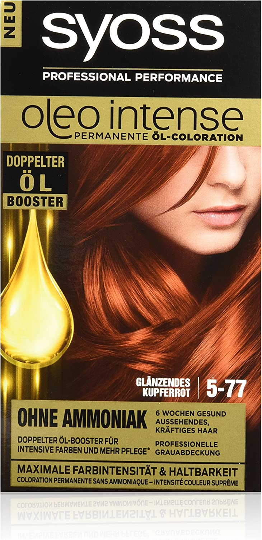 Syoss Oleo Intense Tinte para el cabello 5-77 brillante, rojo cobrizo, 3 unidades (3 x 115 ml)