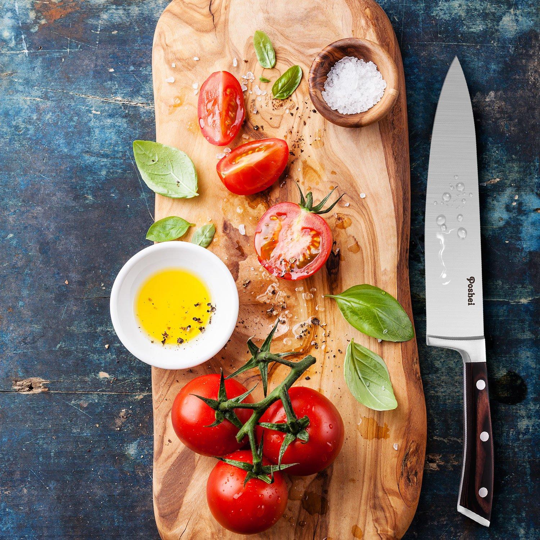 Chef Knife, Poshei 8 inch Multi-purpose High Carbon Stainless Steel Kitchen Knife with Razor Sharp Blade and Balanced Ergonomic Pakka Wood Handle with Gift Box by poshei (Image #8)