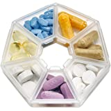 MEDca Weekly Pill Organizer Clear 7-Sided Pill Reminder, Round Shaped