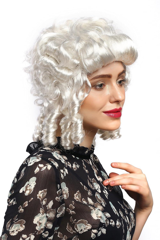 WIG ME UP ® - 91022-ZA68 ZA62 Peluca señoras Carnaval Barroco Renacimiento rizos Blancos Reina María Antonieta Princesa: Amazon.es: Juguetes y juegos