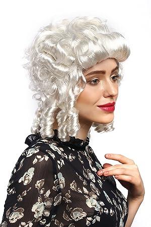 WIG ME UP ® - 91022-ZA68 ZA62 Peluca señoras Carnaval Barroco Renacimiento rizos blancos