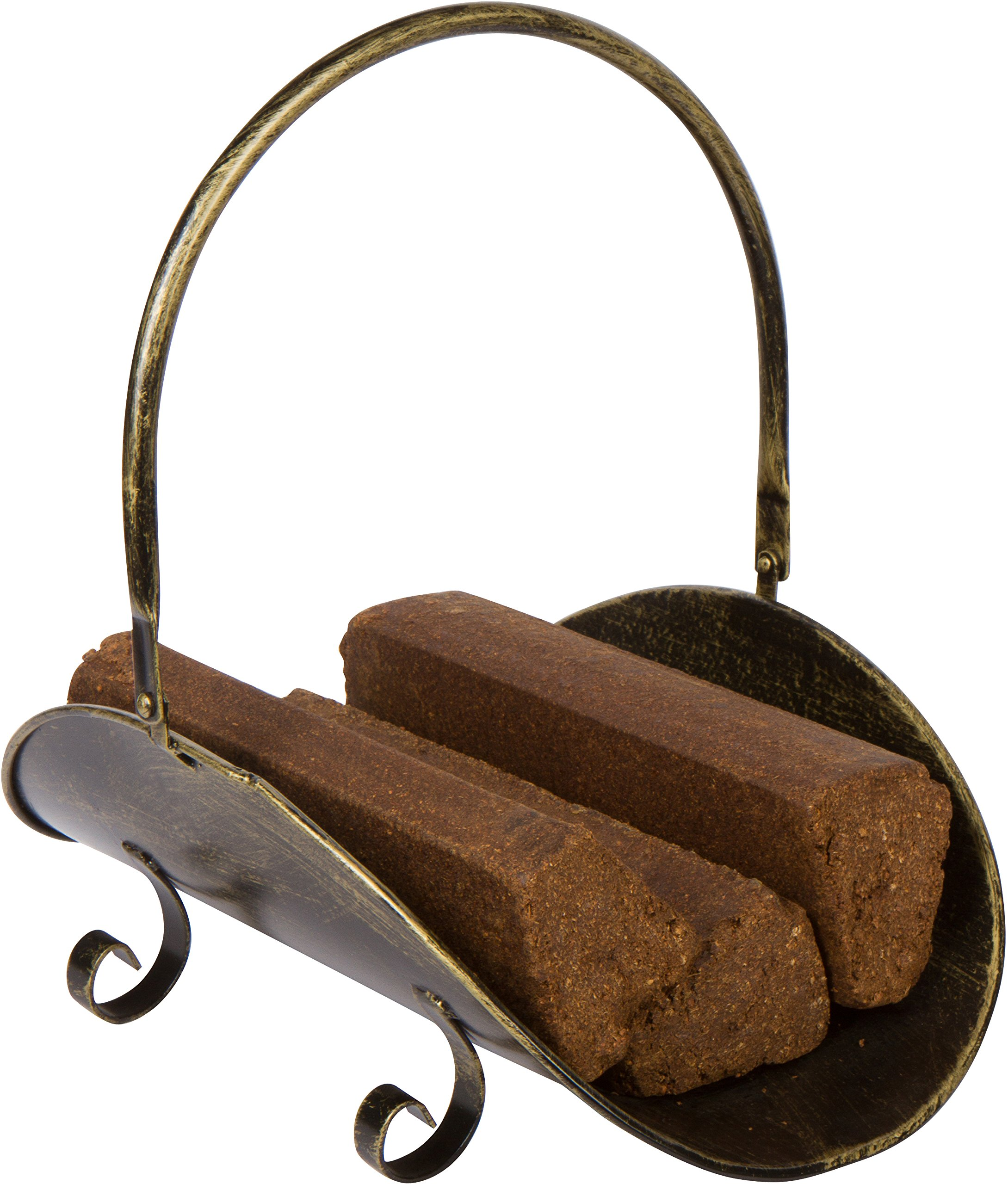 16.5'' Metal Firewood Log Holder Carrier - Bronze Finish for Indoor Use by Trademark Innovations