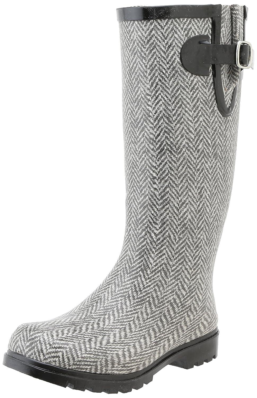 Nomad Women's Puddles Rain Boot B00H9YQVP8 8 B(M) US|Grey / White Herringbone