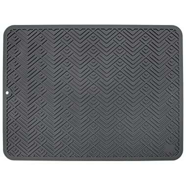 STS 595601 Heavy Duty Silicone Drying Mat, Large 12  x 16 , Gray